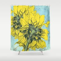 alisa burke Shower Curtains featuring The sunflowers moment by anipani