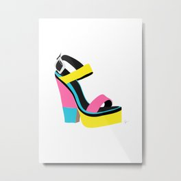 60s 70s Platform Retro Colorblock Shoe Metal Print