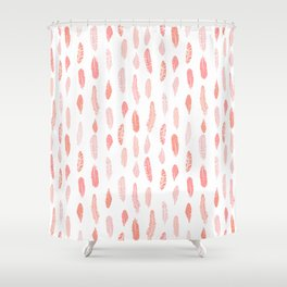 Feather pink and white minimal feathers pattern nursery gender neutral boho decor Shower Curtain