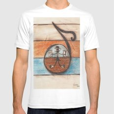 A note of my scale MEDIUM White Mens Fitted Tee