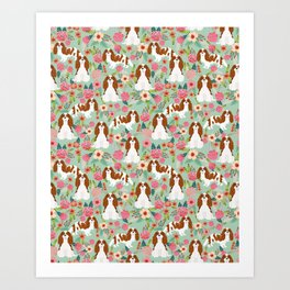 Blenheim Cavalier King Charles Spaniel dog breed florals pattern Art Print