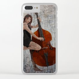Girl on Bass Clear iPhone Case