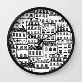 Paris Rooftops Sketch Wall Clock