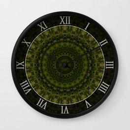 Mandala in olive green tones Wall Clock