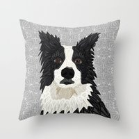 border collie Throw Pillows featuring Beautiful Border Collie by ArtLovePassion