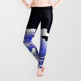 BLUE & WHITE HOKUSAI WAWE REBOOT Leggings