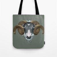 ram Tote Bags featuring Ram by Stu Jones