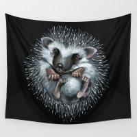 hedgehog Wall Tapestries featuring hedgehog by Kristina Gufo