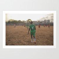 Sunset Soccer in Africa Art Print