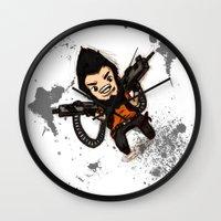 borderlands Wall Clocks featuring Borderlands 2 - Chibi Gunzy! by Emme Gray