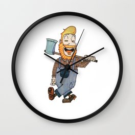 Happy Leñador Wall Clock