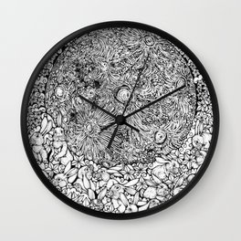 Dream On, Cuddling Moon Bunnies by Kent Chua Wall Clock