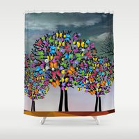 butterfly Shower Curtains featuring butterfly by mark ashkenazi