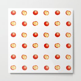 watercolor cut red tomatoes with slices pattern Metal Print