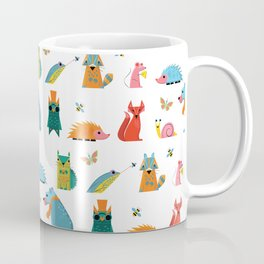 Scandinavian woodland animals pattern print Coffee Mug