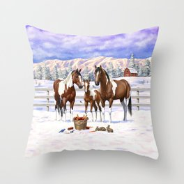 Bay Pinto Paint Horses In Snow Throw Pillow