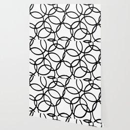 Interlocking Black Circles Artistic Design Wallpaper