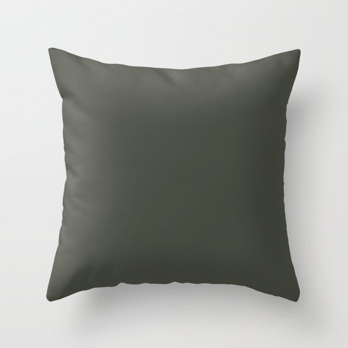 Dark Hunter Green Solid Color Pairs with Sherwin Williams Alive 2020 Forecast Color - Ripe Olive SW6 Throw Pillow