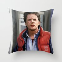mcfly Throw Pillows featuring Marty McFly by Kaysiell