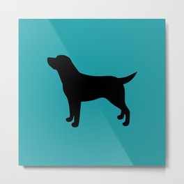 Labrador Retriever Lab (Black/Teal) Metal Print