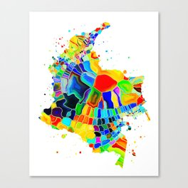 Colombia Map Canvas Print