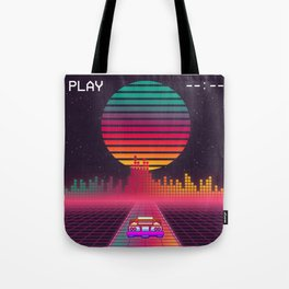 Retro 80s Cyberpunk Synthwave Sunset fast car in Outrun grid design Tote Bag