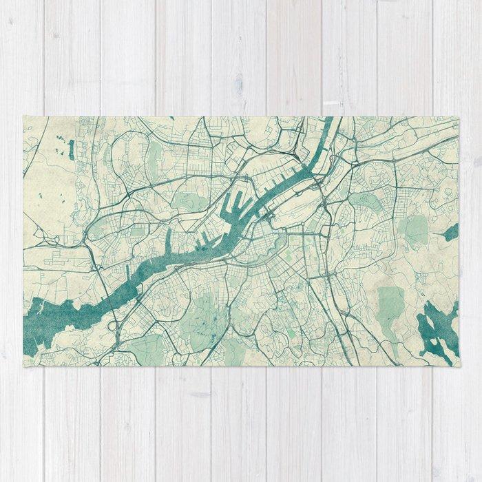 Gothenburg Map Blue Vintage Rug