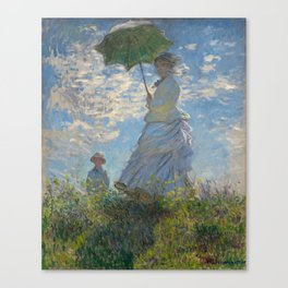 The Walk, Woman with a Parasol by Claude Monet Canvas Print