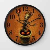 groot Wall Clocks featuring Groot by Anna Shell