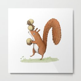 Squirrel With Acorns Metal Print