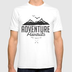 ADVENTURE AWAITS White Mens Fitted Tee SMALL