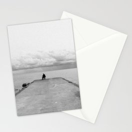 Fisherman on the pier Stationery Cards