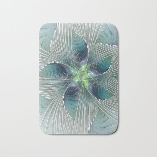A Floral Fantasy, Abstract Fractal Art Bath Mat