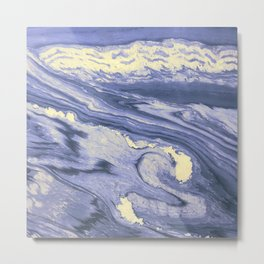 Lavender Marble With Cream Swirls Metal Print