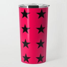 Black Stars on Pink Travel Mug