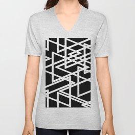 Interlocking White Triangles Artistic Design Unisex V-Neck