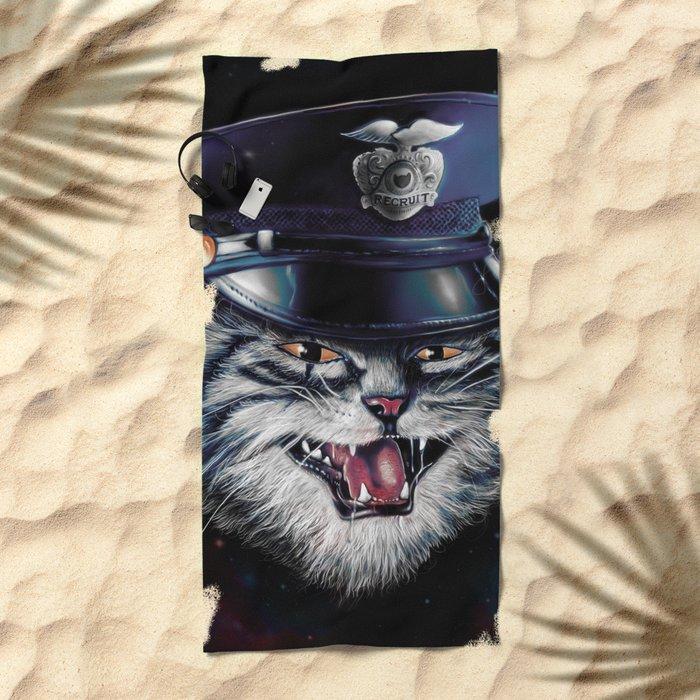 Police Cat Beach Towel