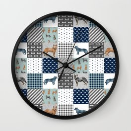 Australian Cattle Dog cheater quilt pattern dog lovers by pet friendly Wall Clock