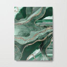 Emerald Green Marble Agate Gold Glitter Glam #1 (Faux Glitter) #decor #art #society6 Metal Print