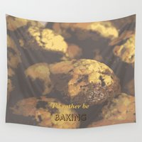 baking Wall Tapestries featuring I'd rather be baking by inesmarinho