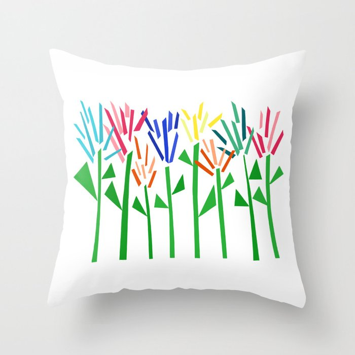 Tropical Rainbow Collage by Emma Freeman Throw Pillow