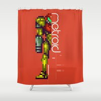 metroid Shower Curtains featuring Metroid by Slippytee Clothing
