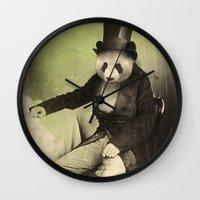 panda Wall Clocks featuring Proper Panda by Chase Kunz