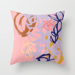 Abstract Sumi Ink #2 in Summer Color Palette Throw Pillow