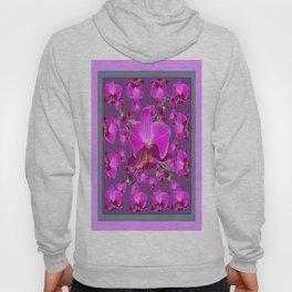 Abstract Fuchsia-Purple Orchid Flowers Grey Art  Hoody
