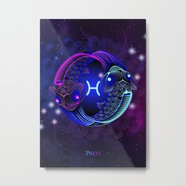 Zodiac neon signs — Pisces Metal Print