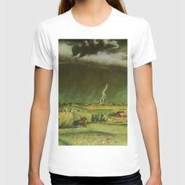 The Line Storm - Thunder and Lightning on the American Plains by John Steuart Curry T-shirt
