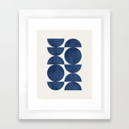 Blue navy retro scandinavian Mid century modern Framed Art Print