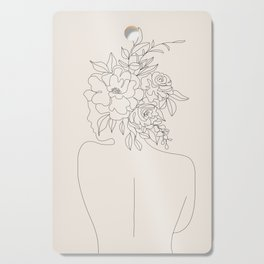 Woman with Flowers Minimal Line I Cutting Board