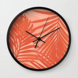 Terracotta Palm Leaves / Sunset Illustration Wall Clock